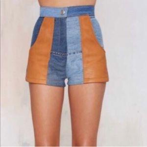 Nasty Gal leather paneled high waisted shorts